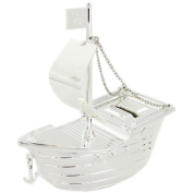 Pirate Boat Money Box - Silver Plated