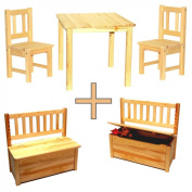 Children's Seating Set 1 x Children's Table & 2 x Children's Chairs & 1 x Children's Chest Bench with Toybox Storage Space Solid Wood Untreated
