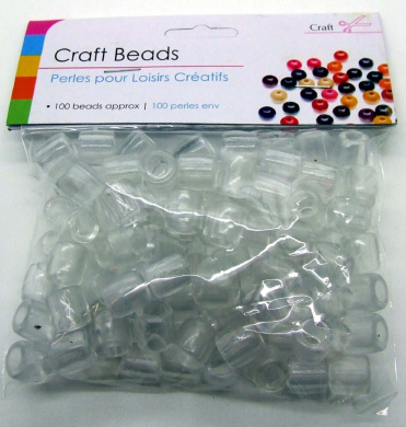 Round Clear Plastic Craft Beads Pack x 100 - 10mm x 10mm