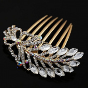 Gold Finish Clear Rhinestone Butterfly and Leaves French Twist Decorative Comb