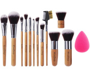 EmaxDesign® 12+1 Pieces Makeup Brush Set, 12 Bamboo Handle Premium Synthetic Kabuki Foundation Blending Blush Concealer Eye Face Liquid Powder Cream Cosmetics Brushes + 1 EmaxBeauty® Blender Sponge