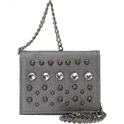 La Regale Pewter Textured Faux Leather Studded Crossbody