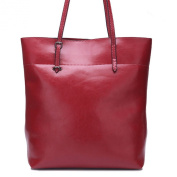 Hynbase Women Fashion Work Place Simple Base Large Top Handle Tote Leather Shoulder Bag