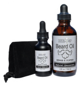 Natural Brio Premium Unscented Beard Oil - Condition, Soften and Repair, 2 Bottles, 1 and 120ml