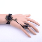 Lvxuan Gothic Retro Halloween Fancy Masquerade Ball Black Lace Rose Bracelet with Jewellery Ring Set