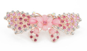 YESHINE Fashion Women Bow and Flower Pattern Full Crystal and Rhinestones Decor Alloy Hair barrette Hair Clip,Pink
