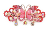 YESHINE Rhinestone Decor Alloy Butterfly Design French Hair Clip Barrette for Women,Red
