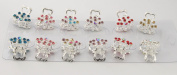 Yeshine Pack of 12pcs No-slip Grip Silver Plated Mini Claw Clip, with Rhinestone and Crystal Beaded Jaw Hair Clip