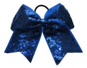 """New """"FANCY SEQUIN Sapphire Blue"""" Cheer Bow Pony Tail 7.6cm Ribbon Girls Hair Cheerleading Dance Practise Football Games Competition Birthday"""