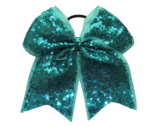 """New """"FANCY SEQUIN Ocean Teal"""" Cheer Bow Pony Tail 7.6cm Ribbon Girls Hair Bows Cheerleading Dance Practise Football Games Competition Birthday"""