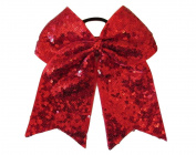 """New """"FANCY SEQUIN Red"""" Cheer Bow Pony Tail 7.6cm Ribbon Girls Hair Bows Cheerleading Dance Practise Football Games Competition Birthday Holiday"""