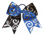 """New """"Silver Swirl BLUE & BLACK"""" Cheer Bow Pony Tail 7.6cm Ribbon Girls Hair Bows Cheerleading Dance Practise Football Game Competition Birthday"""