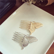 AUCH 1Pair Elegant Butterfly Hair Pin Clip Cuff Claw Side Comb, Siver/Gold