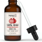 Pomegranate Seed Oil Cold Pressed 100% Raw Virgin Unrefined From Lagoon Essentials For Skin, Hair, Nails, Acne, Wrinkles, Psoriasis, Eczema... (2oz / 60ml) Bottle With Dropper.