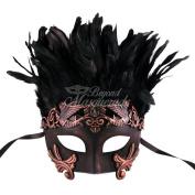 Bronze Warrior with Feathers Greek Venetian Masquerade Mask