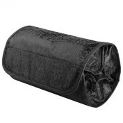 Theo & Cleo 4 Zippered Compartment Roll Up Bathroom Organiser Cosmetic Travel Bag, Black