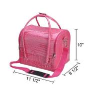Pink Crocodile Print Soft PVC Makeup Train Cosmetic Case