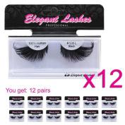 Elegant Lashes #535L Thick Long Black Human Hair False Eyelashes for Drag Queen Halloween Dance Costume