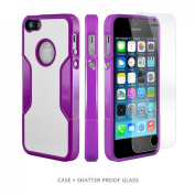 iPhone 5s Case, Purple - *Bonus Glass* Rugged Protection, Thin and Lightweight, Includes Tempered Glass Screen Protector, Professional Camera Hood, Stunning Colours Including Saffron Purple SaharaCase