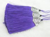 10pcs Purple Silky Handmade (5.6cm ) Soft Fibre Tassels with Antique Silver Cap