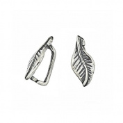 2PC Antique Sterling Silver Leaf Pendant Clasp Pinch Bail