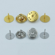 """50 PCS 10mm 3/8"""" TIE Tacks Findings Pin Round Pinch Leather Leathercraft Pad Clutch Nickle Gold"""