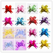 AUCH 100Pcs Elegant Festival Assorted Colours PVC Pull Bows/Christmas Gift Knot Ribbon Strings for Gift Wrapping or Floral Decoration, Random Colour, 3*48cm