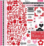 Bella Blvd Valentina Treasures & Text Valentine's Scrapbook Sticker Sheet