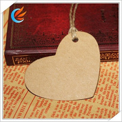 100pcs Blank Brown Kraft Paper Heart Marked Blank Card Hand Draw Paper Tags Labelled Card Model+20M String