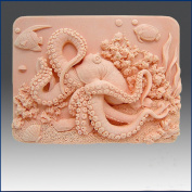 Octopus on Coral Reef - Soap/candle/polymer/clay/cold Porcelain 2d Silicone Mould