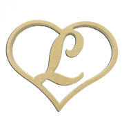 23cm Script Letter L Insert for Home Heart Sign Unfinished DIY Wooden Craft Cutout to Sell Stacked