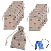 BCP Pack of 12pcs 7.6cm x 10cm Double Drawstring Small Linen Bags Burlap Drawstring Bag/ Gift Bag Pouch for Party / Wedding