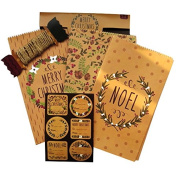 Christmas Quality Brown Gift Wrap Set - Craft Paper Gift Bags, Assorted Present Stickers, Jute String