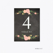 Andaz Press Chalkboard Floral Party Wedding Collection, Table Numbers 1-20, 1-Set, Baby Bridal Shower Birthday Baptism Anniversary Place Settings Decor Decorations
