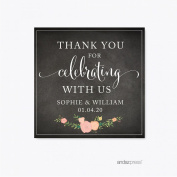 Andaz Press Chalkboard Floral Party Wedding Collection, Square Label Stickers, Personalised Thank You for Celebrating With Us, 40-Pack, Custom Name