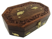 Wooden Handcrafted Octal Shaped Big Indian Jewellery Box Brass Inlay Unique Elephant Design