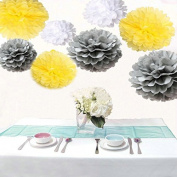 Saitec ® 18PCS Mixed Sizes White Yellow Sliver Tissue Paper Pom Pom Pompoms Paper Flower Balls Wedding Party Decor Festive Supplies