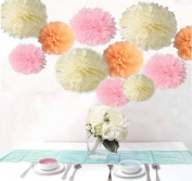Saitec ® 18PCS Mixed Sizes Peach Ivory Pink Tissue Pompoms Paper Flower Pom Poms Wedding Birthday Party Christmas Girls Room Decoration