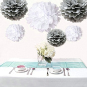 Saitec ® 12PCS Mixed Sizes White & Silver Tissue Paper Pom Poms Pompoms Wedding Birthday Party Decoration Holiday Supplies
