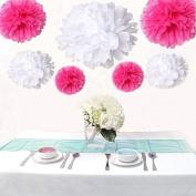 Saitec ® 12PCS Mixed Sizes White & Hot Pink Paper Pompoms Pom Poms Flower Balls Wedding Birthday Party Decoration Holiday Supplies