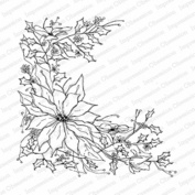 Impression Obsession Poinsettia Sketch Cling Rubber Stamp CC220