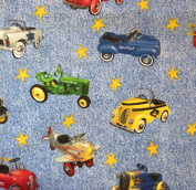 1/2 Yard - Pedal Cars Tossed Cotton Fabric (Great for Quilting, Sewing, Craft Projects, Throw Pillows & More) 1/2 Yard X 110cm Wide