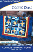 Cosmic Stars Quilt Pattern, Jelly Roll 6.4cm Strip Friendly, 3 Finished Size Options