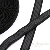 25 Yards 2.5cm Elastic with Gripping Rubber, Black with Grey