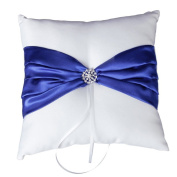 Pixnor Wedding ring pillow 20*20cm Sparkling Rhinestones Bridal Wedding Ceremony Ring Bearer Pillow with Blue Ribbons