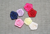 100pieces Craft Assorted Colours Rose Flowers Satin Ribbon Bows Appliques for Headband Hair Cloth Wedding Dress Sewing Accessories Xsp1