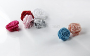 100place Craft Assorted Colours Rose Flowers Satin Ribbon Bows Appliques for Headband Hair Cloth Wedding Dress Sewing Accessories Xsp8