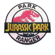 Jurassic Park 7.6cm Ranger Logo Patch Embroidered Iron On/Sewn On Patch with Gift Bag