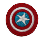 Marvel Comics 5.1cm Captain America Shield Logo Red Trim Embroidered Iron On/Sewn On Patch with Gift Bag