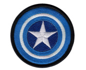 Marvel Comics 8.9cm Captain America Shield Logo Blue Embroidered Iron On/Sewn On Patch with Gift Bag